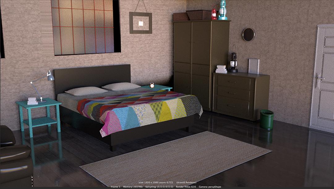 Room Render: Autodesk Maya Modeling and Texture 1920 X 1080 pixels